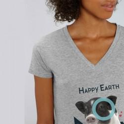 """T-SHIRT HAPPY EARTH NOW Femme - Cochon - """"Chaque vie compte"""" - Gris"""