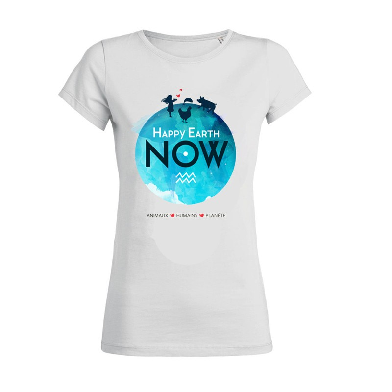 """T-SHIRT FEMME """"HAPPY EARTH NOW"""" - Logo Planète"""