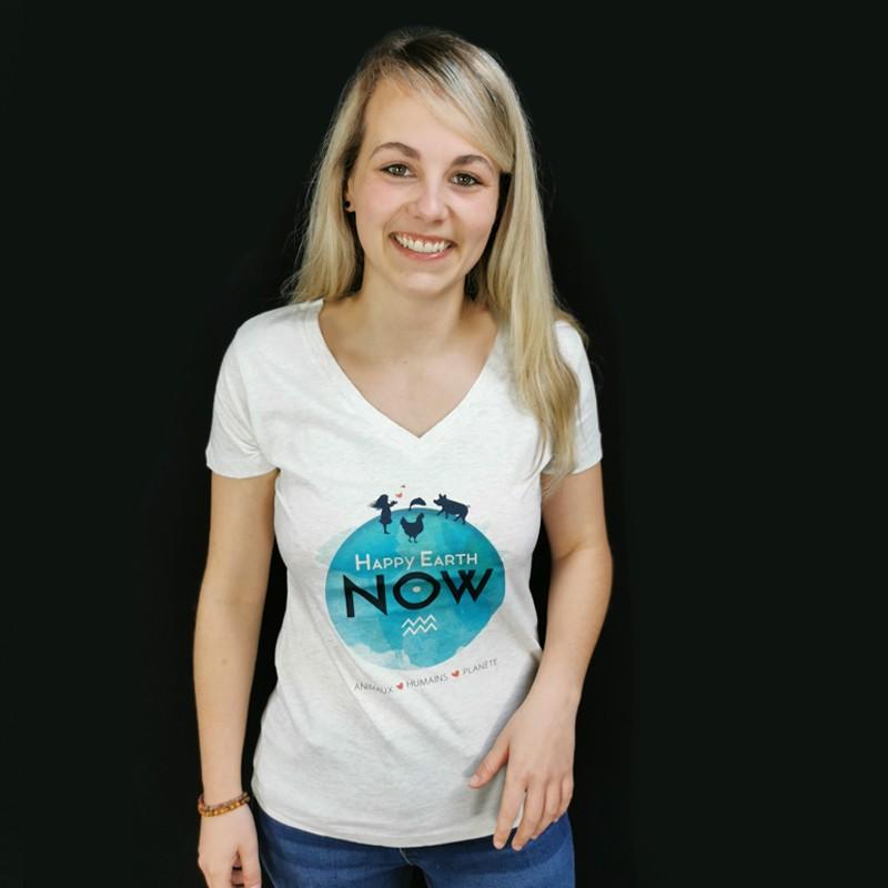 T-SHIRT HAPPY EARTH NOW Femme - Logo Planète - COL V Gris chiné