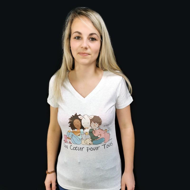 """T-shirt Femme Col V - Gris Chiné """"UN CŒUR POUR TOUS"""" -  Coton bio Végan - Animaux, Humains Planète - Happy Earth Now"""