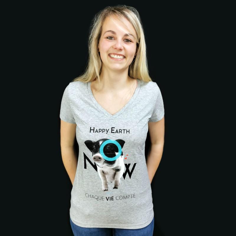 """T-Shirt Femme Gris COCHON H.E.N """"Chaque vie compte"""" - Coton bio Végan - Animaux, Humains Planète - Happy Earth Now"""