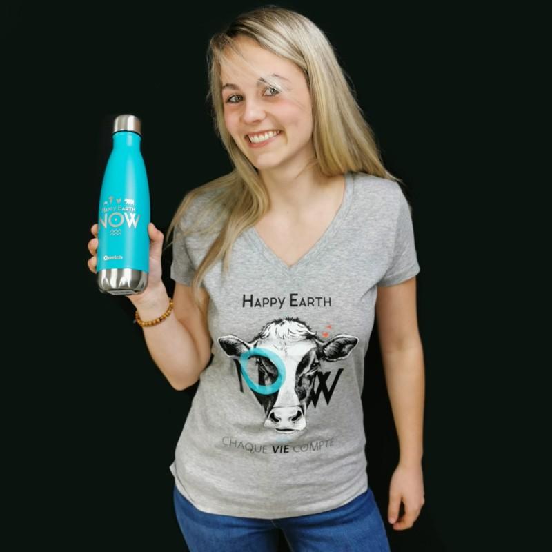 """T-shirt Femme Gris VACHE Col V - """"Chaque vie compte"""" - Coton bio Végan - Animaux, Humains Planète - Happy Earth Now"""