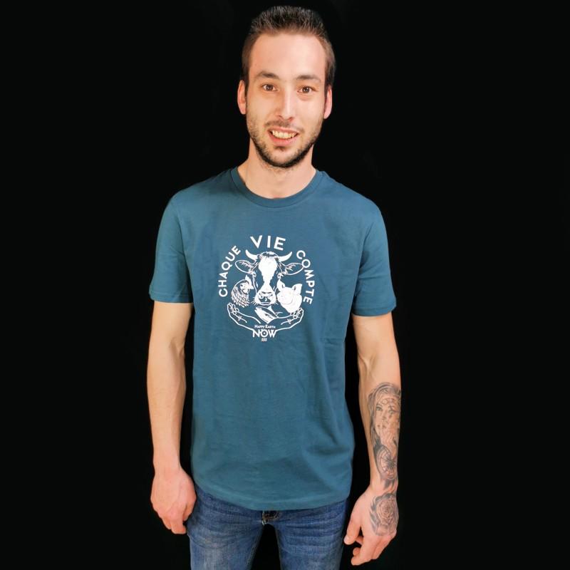 T-shirt unisex « Chaque Vie Compte » -  Coton bio Végan - Animaux, Humains Planète - Happy Earth Now
