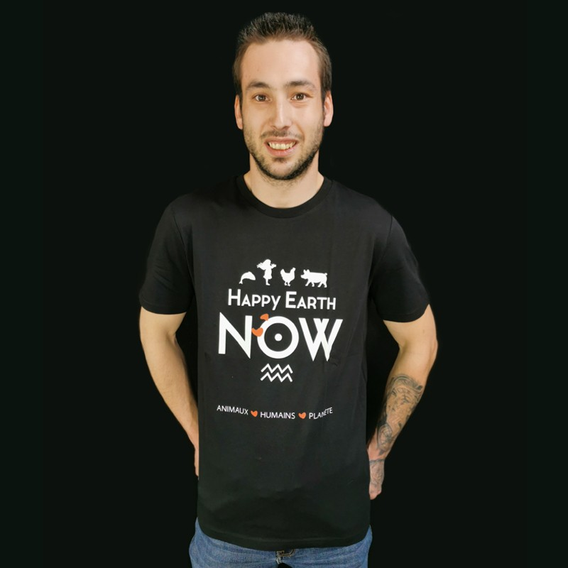 """T-SHIRT HOMME """"HAPPY EARTH NOW"""""""