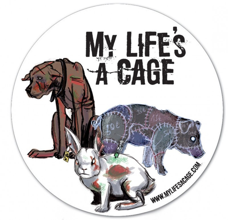 """Autocollant My Life's a Cage - """"3 animaux"""""""