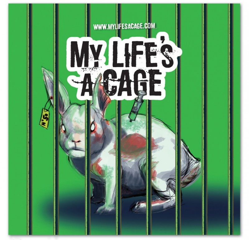 """Autocollant My Life's a Cage - """"lapin"""""""