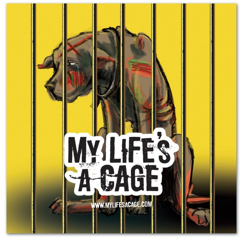 """Autocollant My Life's a Cage - """"chien"""""""