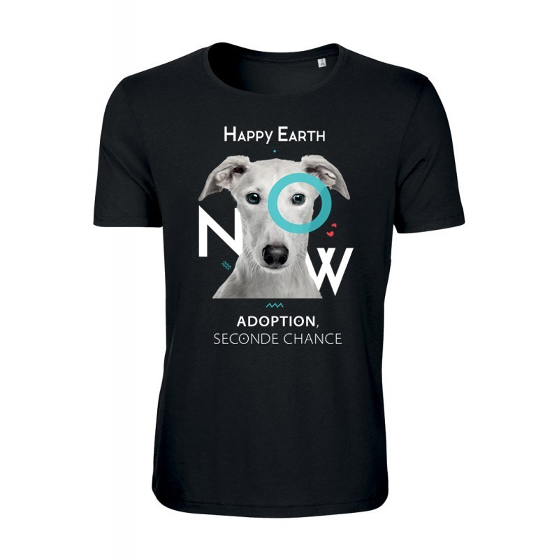 """T-SHIRT - CHIEN """"Adoption, seconde chance"""" (homme) - Happy Earth Now"""