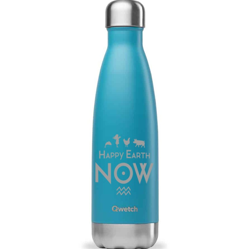 Bouteille Qwetch Turquoise 750ml Happy Earth NOW