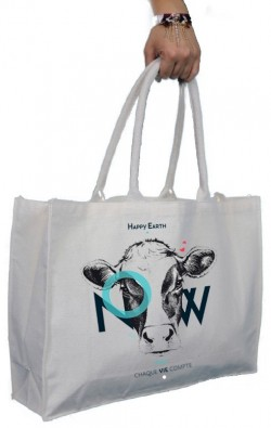 CABAS (COTON BIO) - HAPPY EARTH NOW - VACHE - BLANC