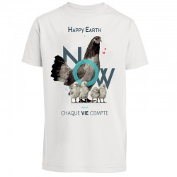 T-SHIRT - HAPPY EARTH NOW - POULE - HOMME