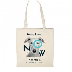 TOTE BAG - HAPPY EARTH NOW - CHIEN - Adoption, seconde chance (coton bio)